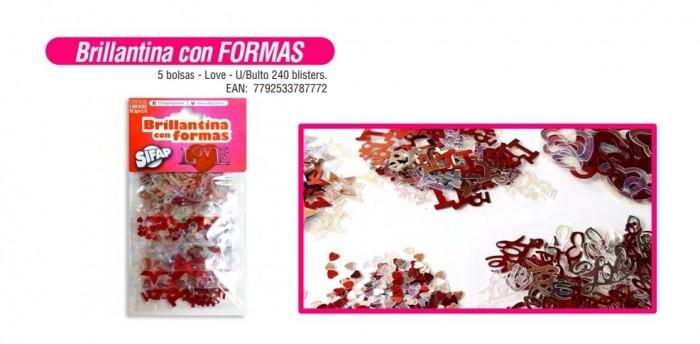 Brillantinas Con Formas Love Pack X 5 Sobres