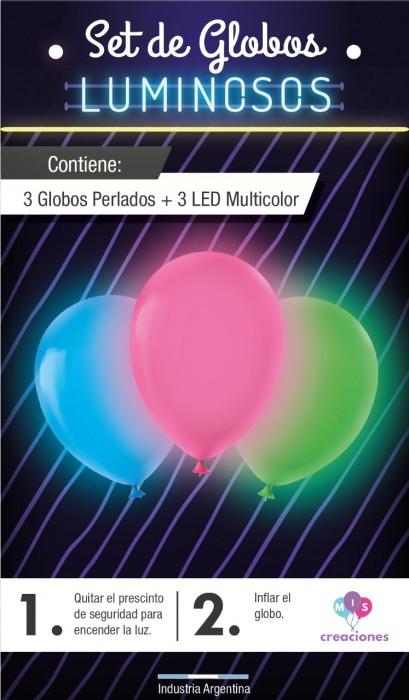 SET DE GLOBOS LUMINOSOS CONTIENE 3 GLOBOS PERLADOS + 3 LED MULTICOLOR