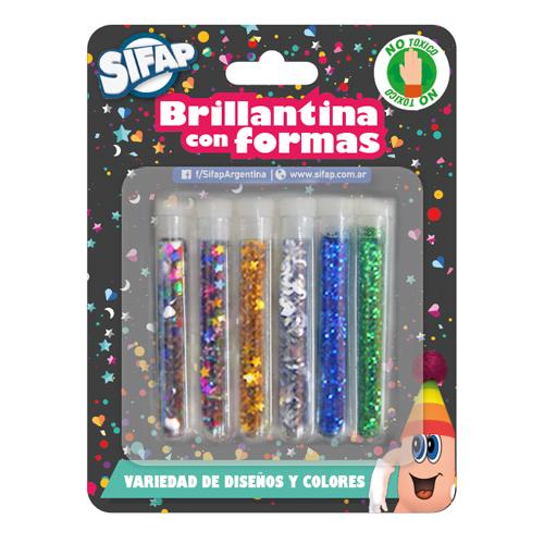 Brillantina  Gibre C/formas Tubitos X 6