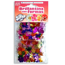 Brillantina C/formas Flowers X 5