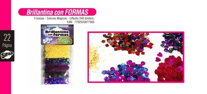 Brillantina Con Formas Colores Magicos X 5 U
